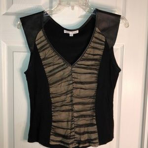 White House Black Market blouse, leather and mesh